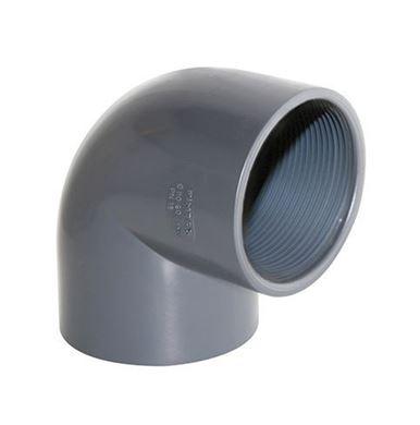 UH-PVC 90° Çift Tarafı İçten Dişli Dirsek resmi